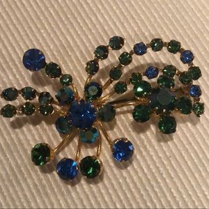 Austrian Crystal Vintage Brooch Blue/Green